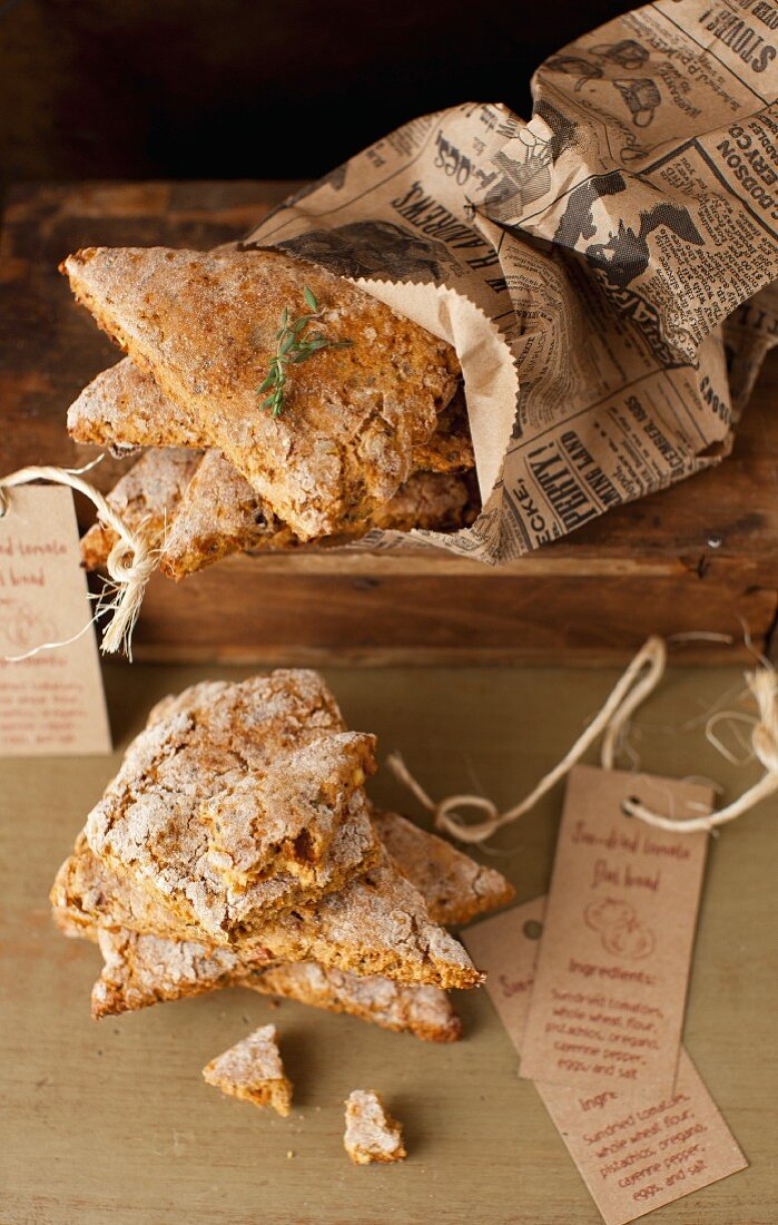 Sun-Dried Tomato and Pistachio Flat Bread