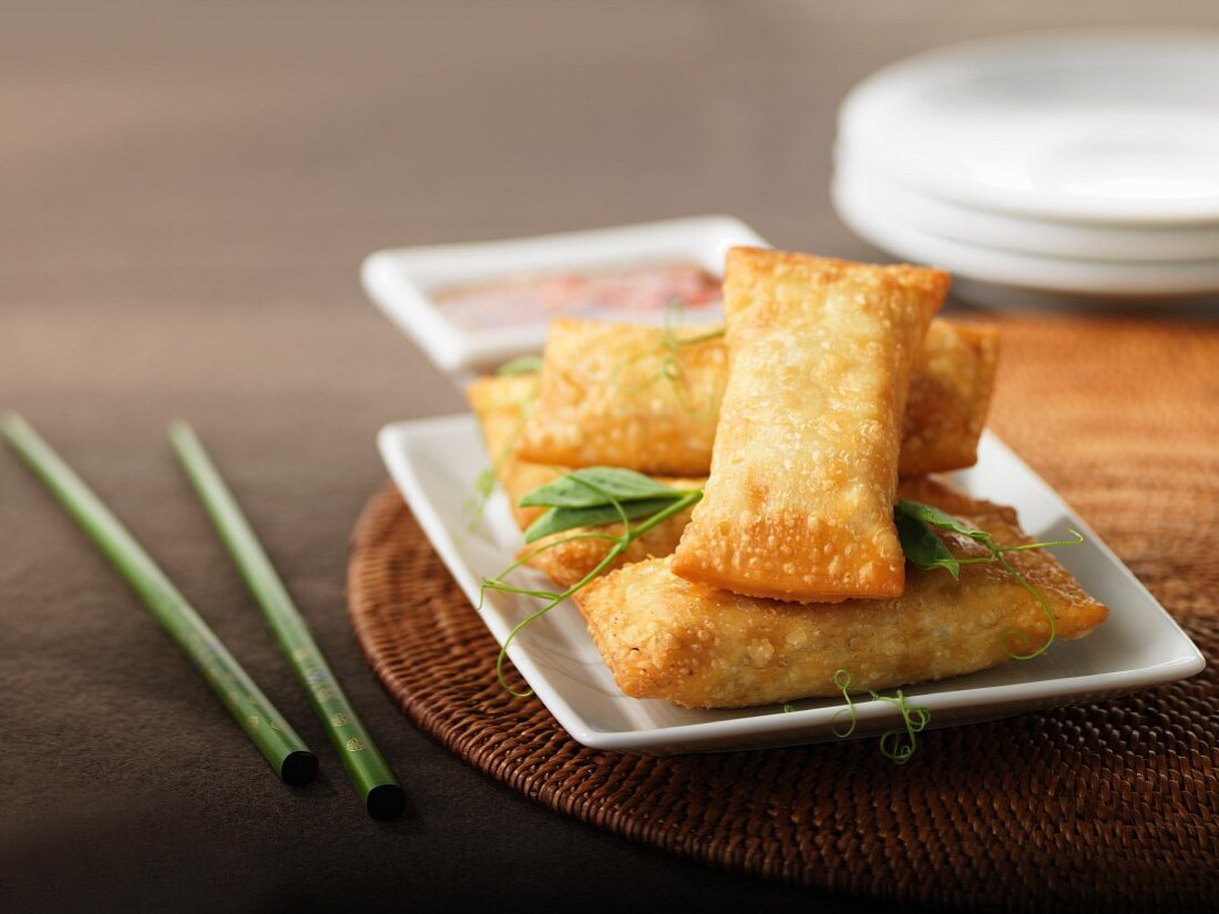 Spring rolls with beef filling