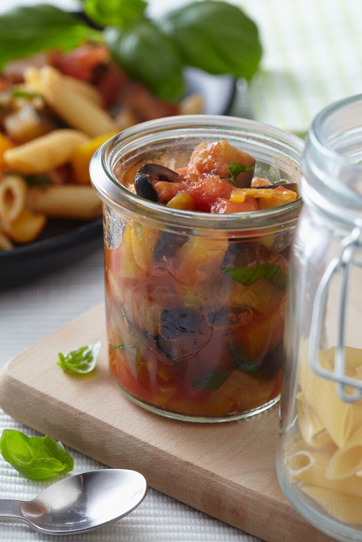 Tomato and bell pepper sauce with olives for a pasta dish