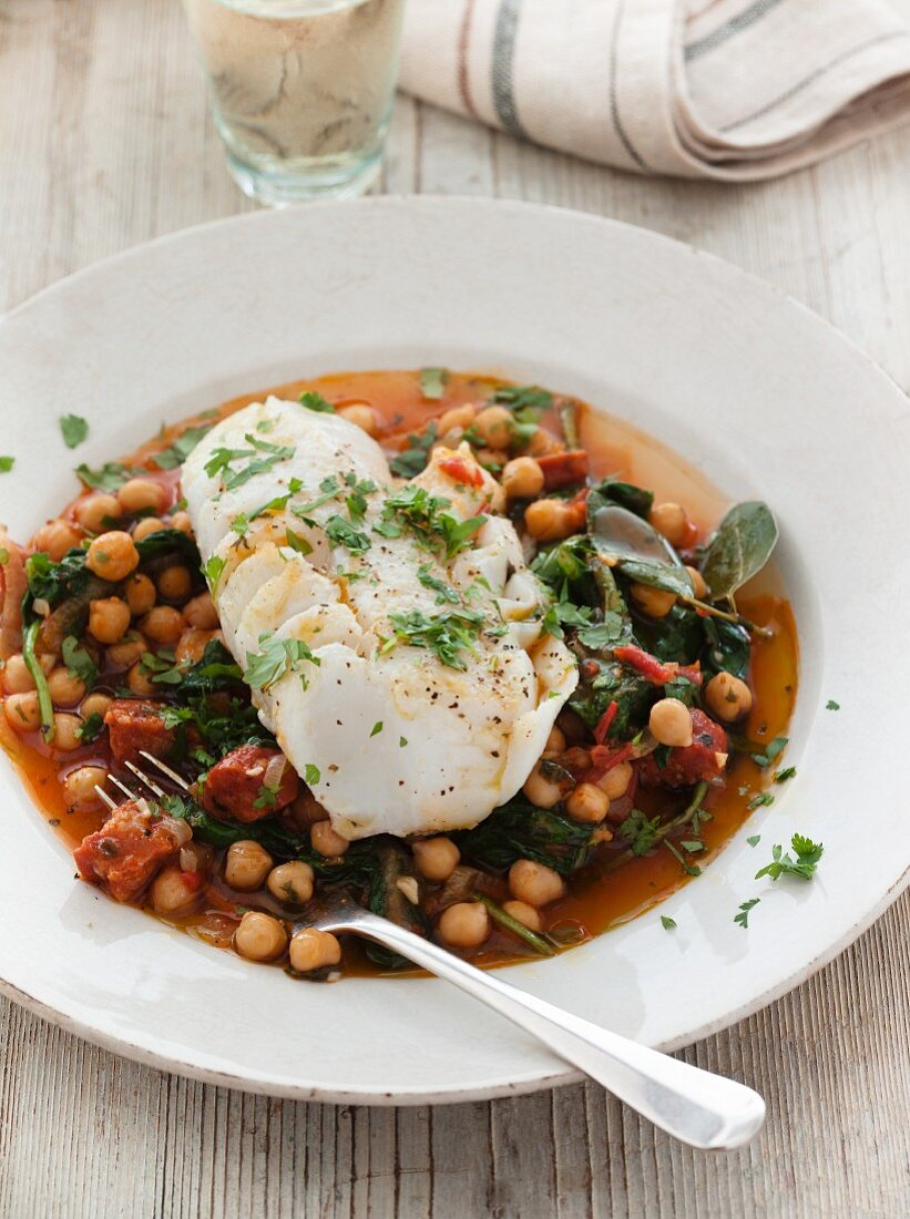 White fish with chickpeas and chourico