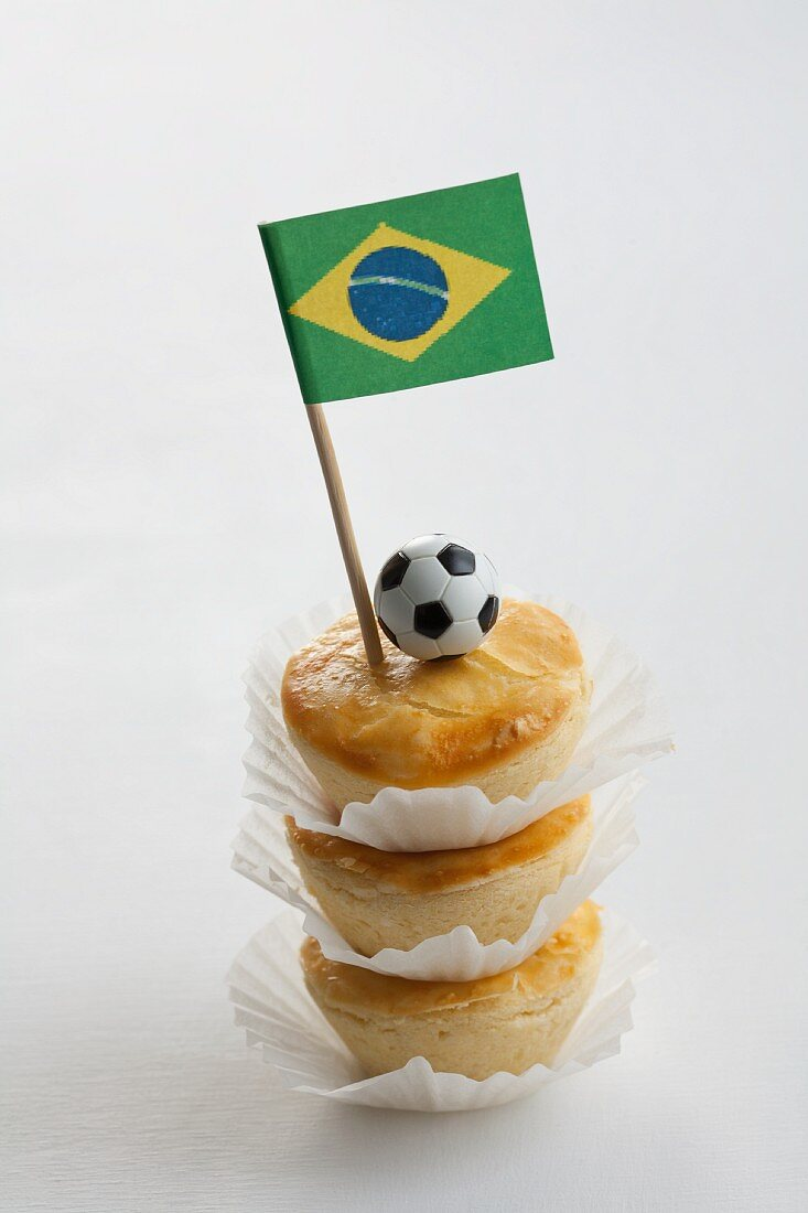 Empadinhas (mini pies, Brazil) with a Brazilian flag