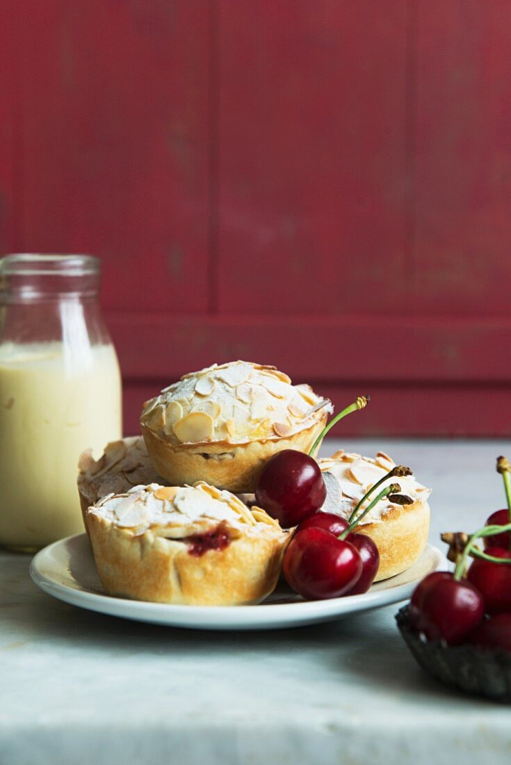 Mini almond pies with cherry filling