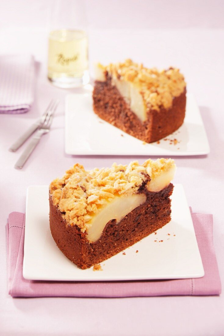 Chocolate and pear cake with crumble topping