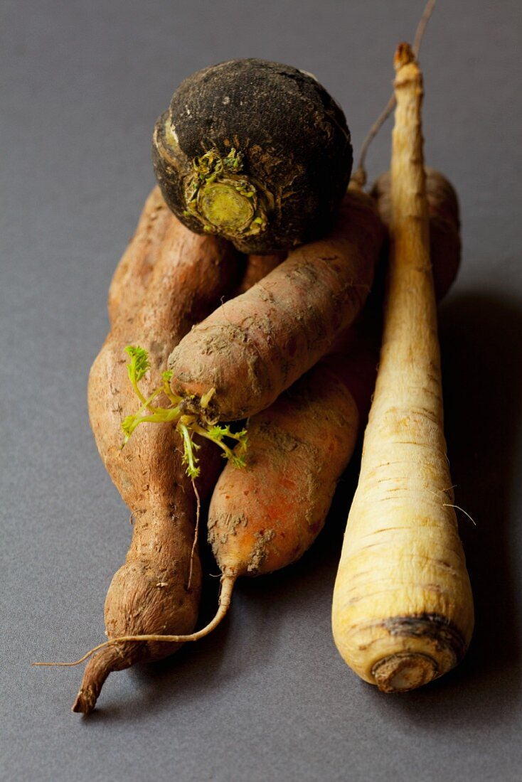 Root vegetables from an organic farm