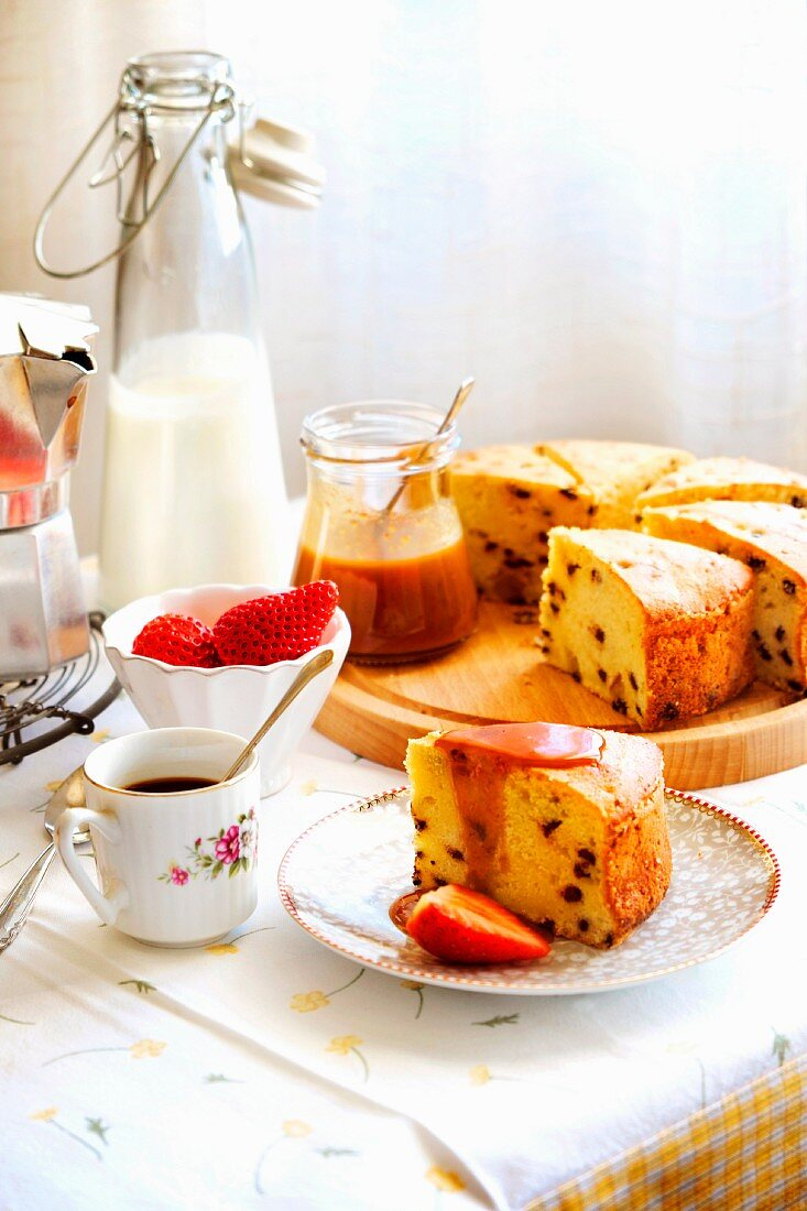 Ricotta cake with Limoncello and chocolate