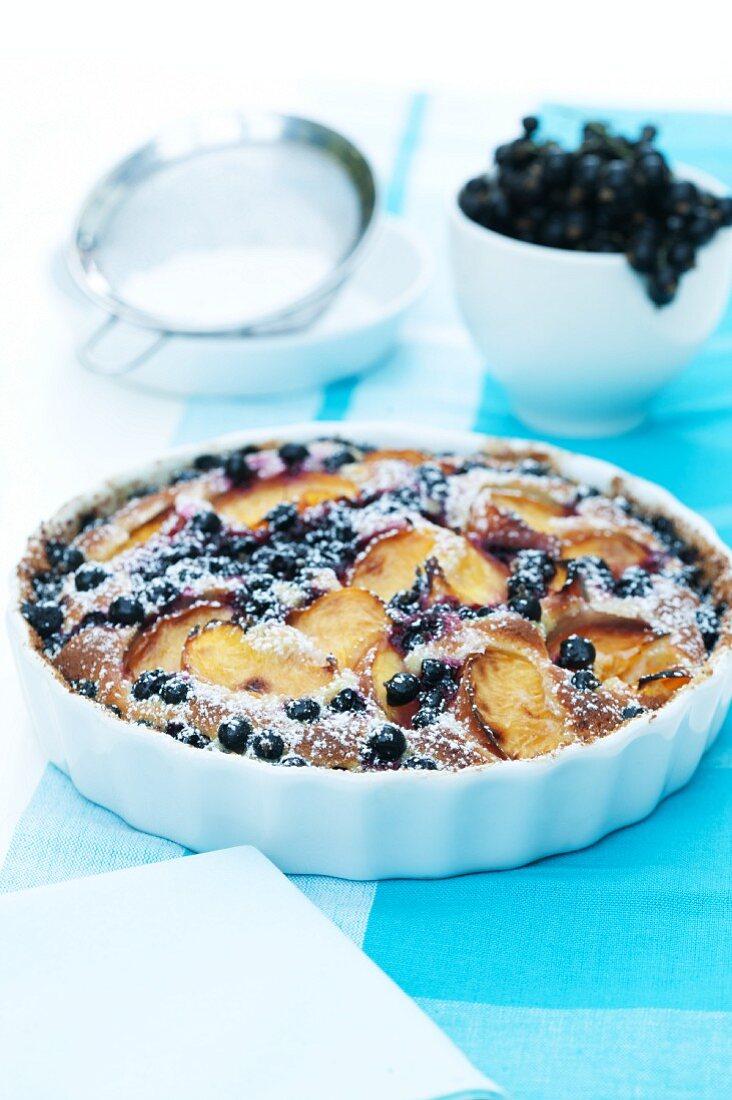Fruit tart with blackcurrants