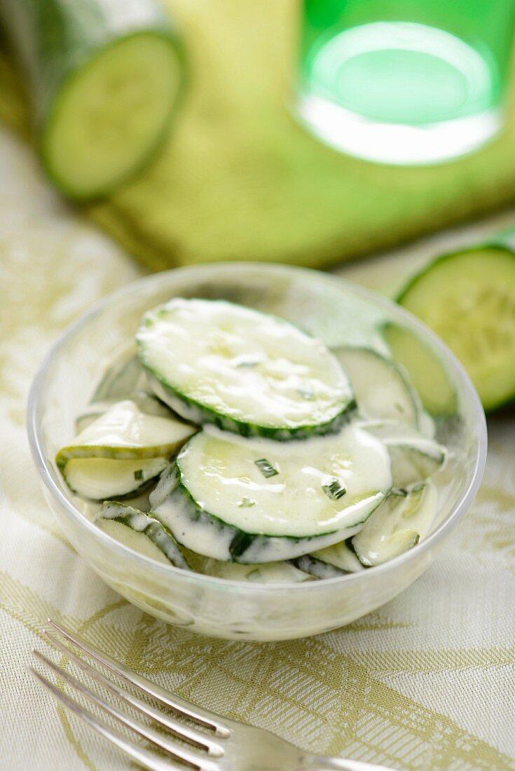 Cucumber salad with a yoghurt dressing