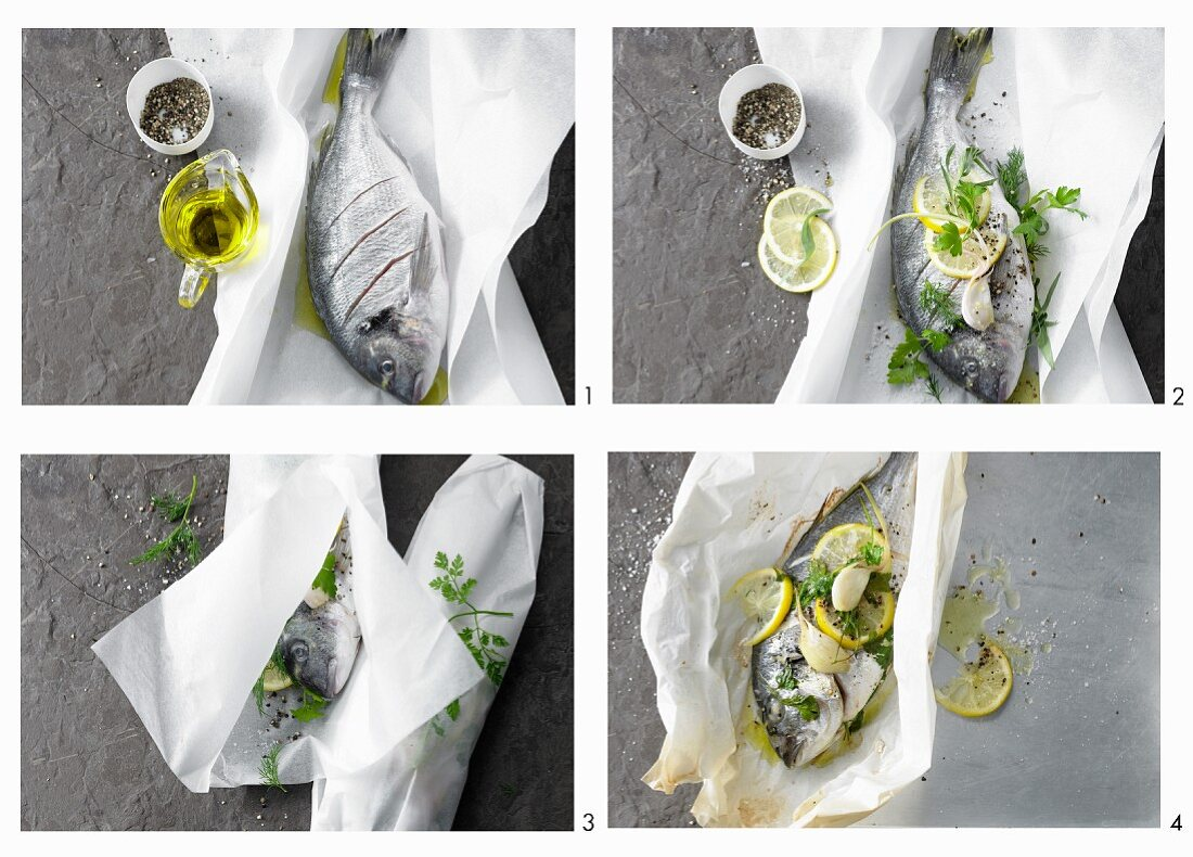 Making sea bream foil packets