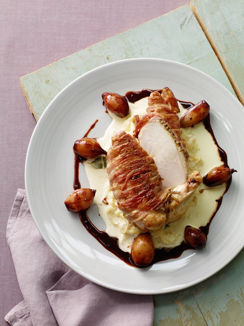 Chicken breast with balsamic vinegar onions