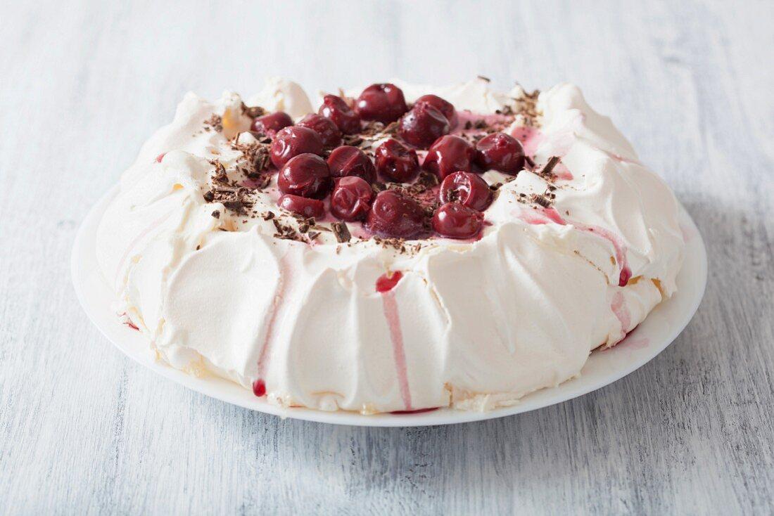 Pavlova with cherries and chocolate