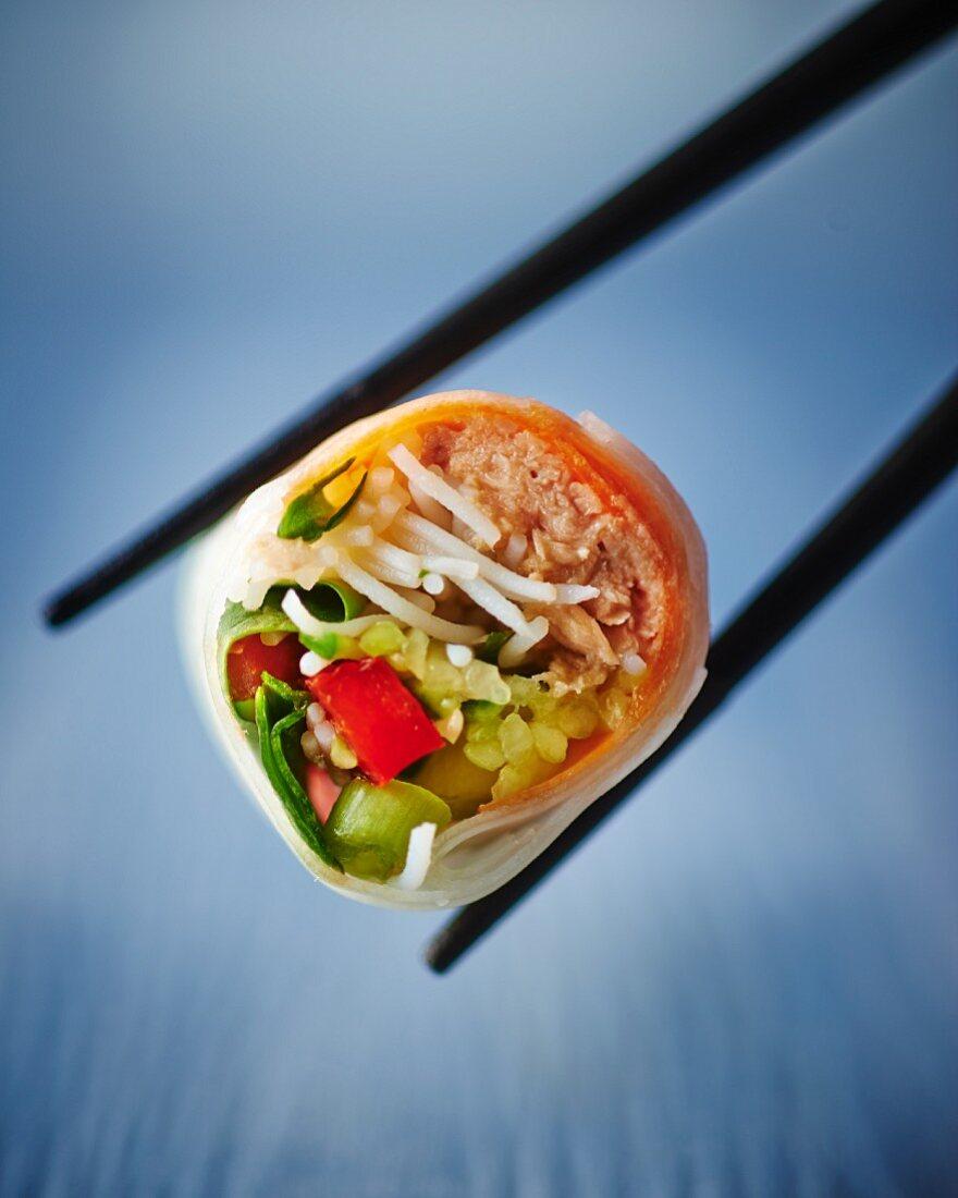 A tuna and salad wrap