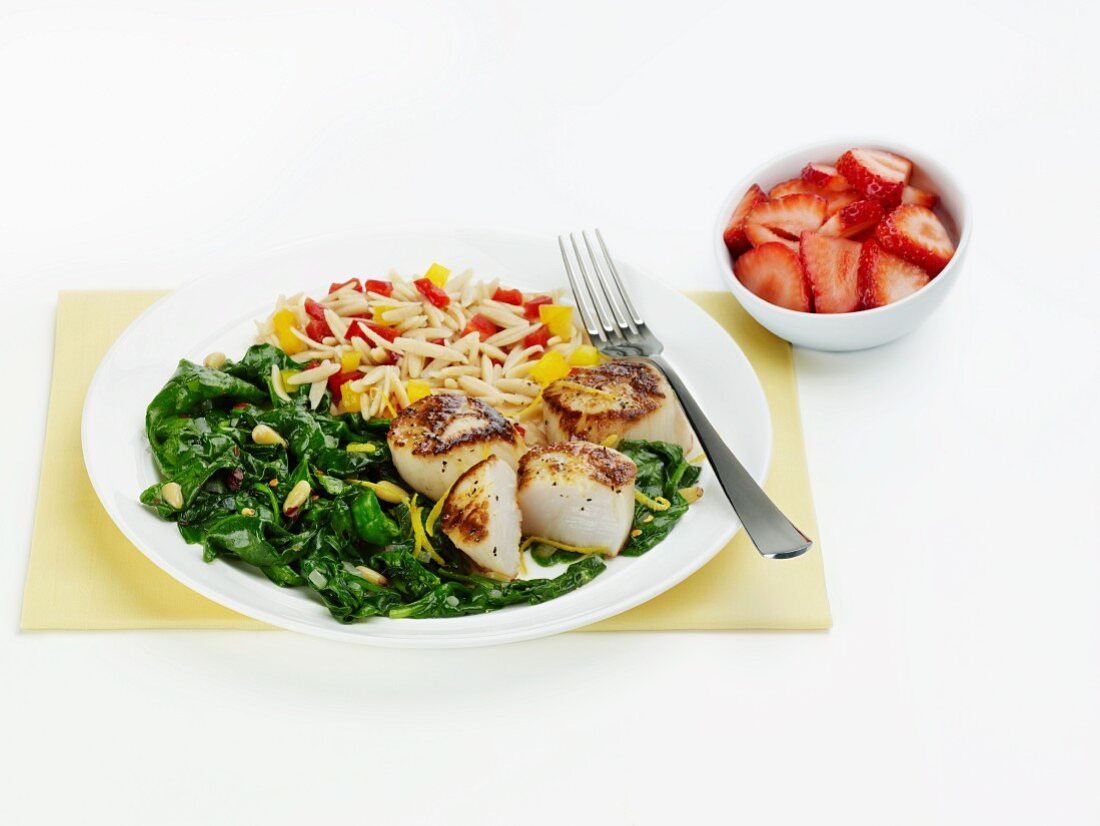 Seared Sea Scallops with Wilted Spinach and Orzo and Bell Pepper Salad