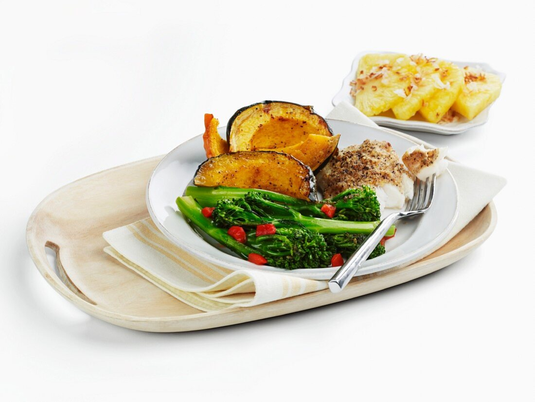 Cod with Acorn Squash and Broccoli; Side of Pineapple