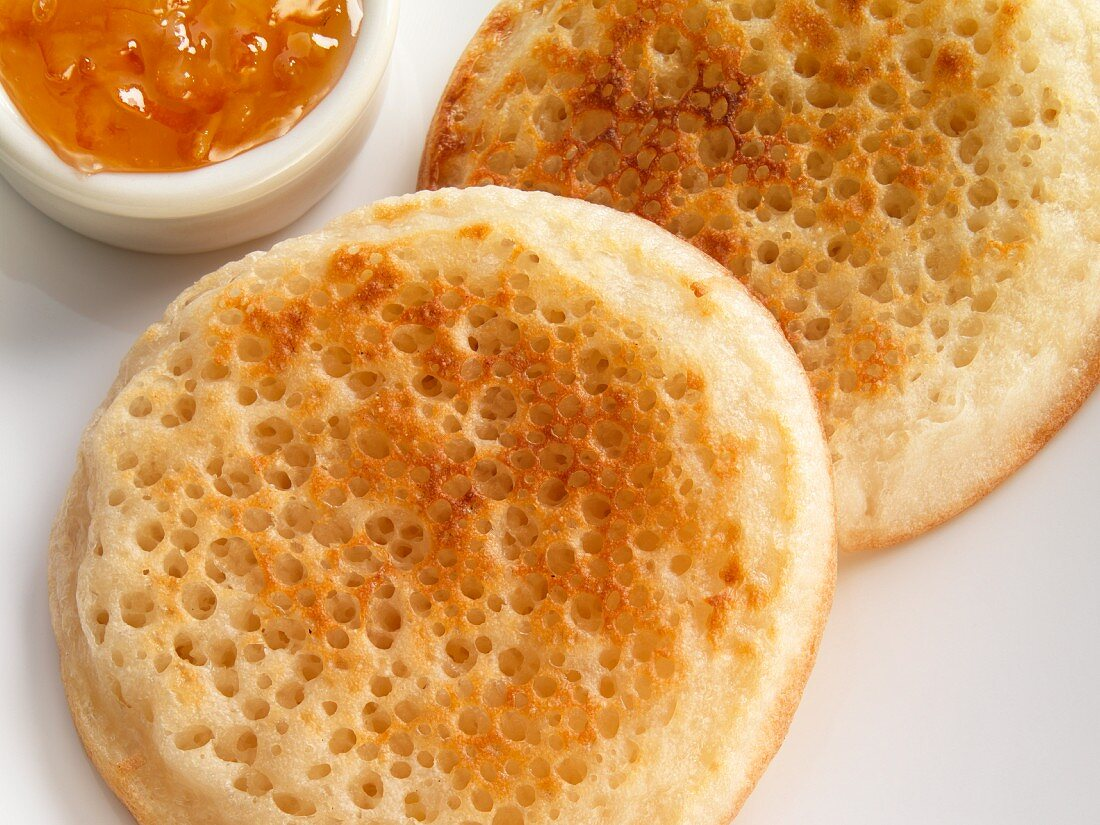 Crumpets with Marmalade; Close Up
