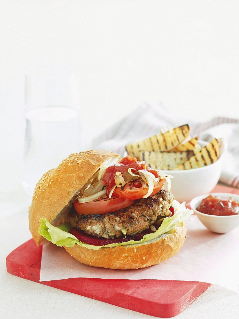 Beefburger with potato wedges