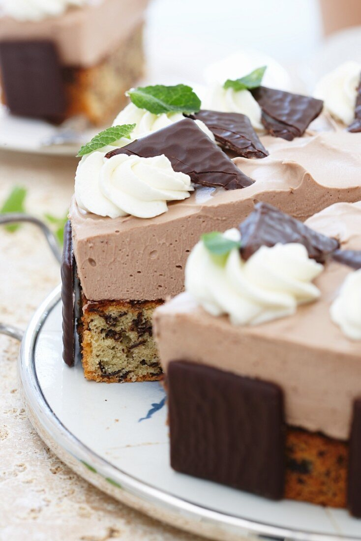 Peppermint layer cake with chocolate mousse