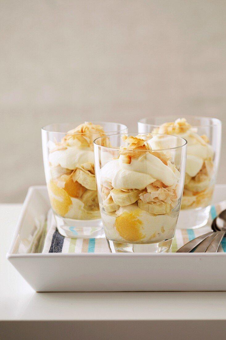 Parfait - Banana, Toasted Coconut, Cream, Mango, Yoghurt