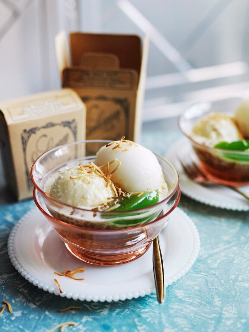 Sundae with star anise ice cream, lychee and ginger sorbet and cucumber and coriander jelly in a tapioca sauce