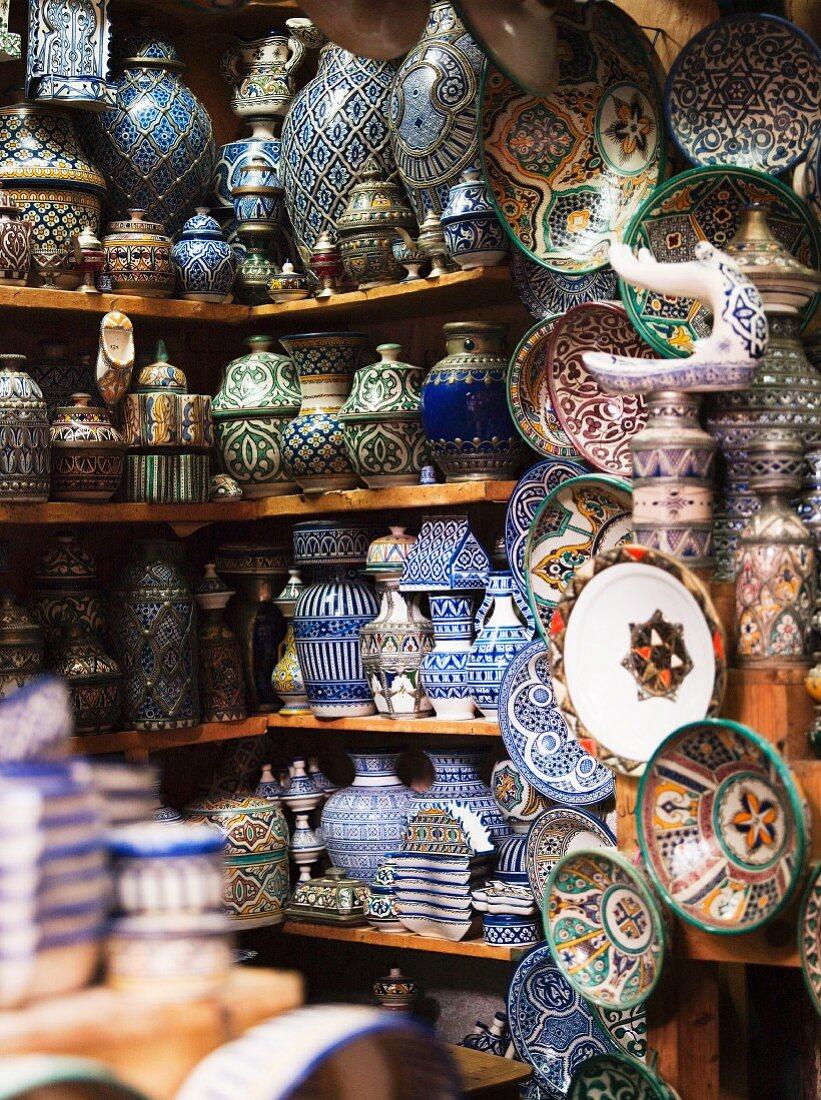 Handmade crockery on shelves (Morocco)