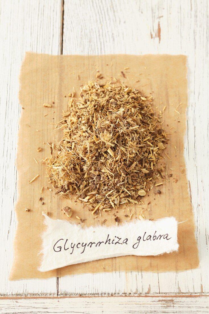 Dried liquorice root (Glycyrrhiza glabra)
