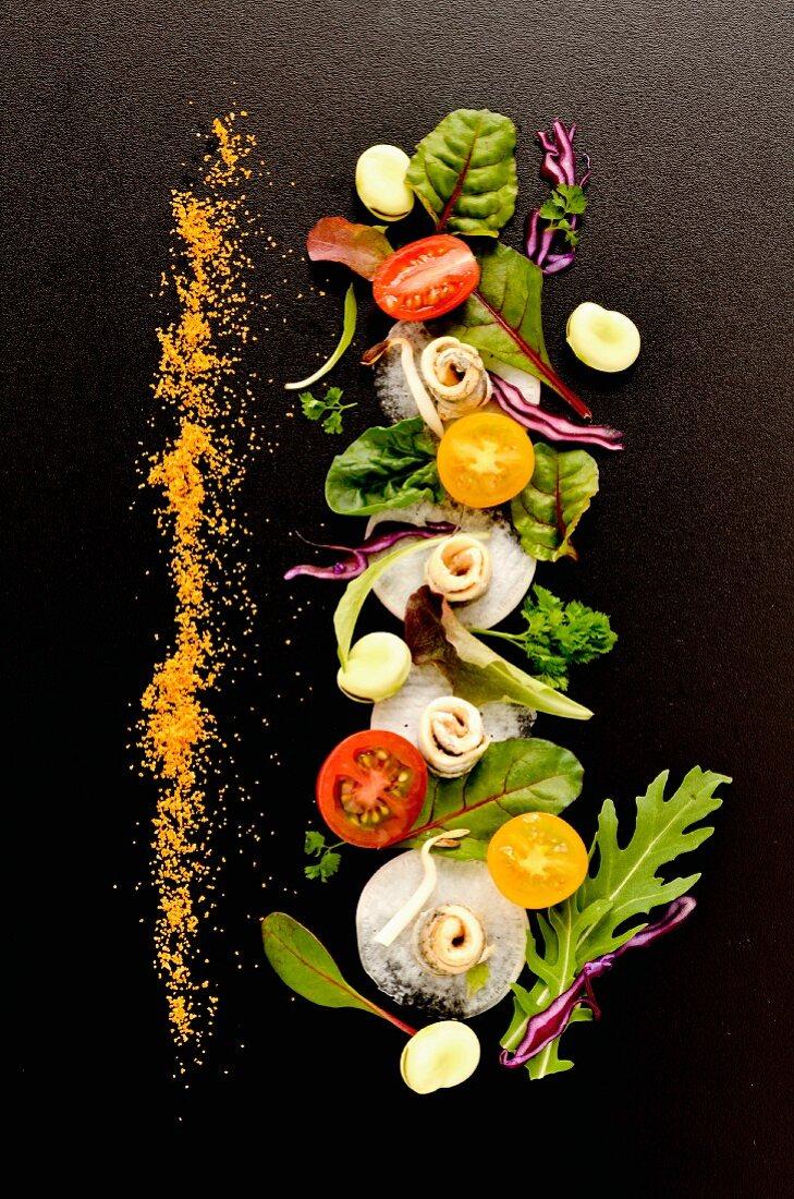 Spring salad with sardine fillets and grated bottarga