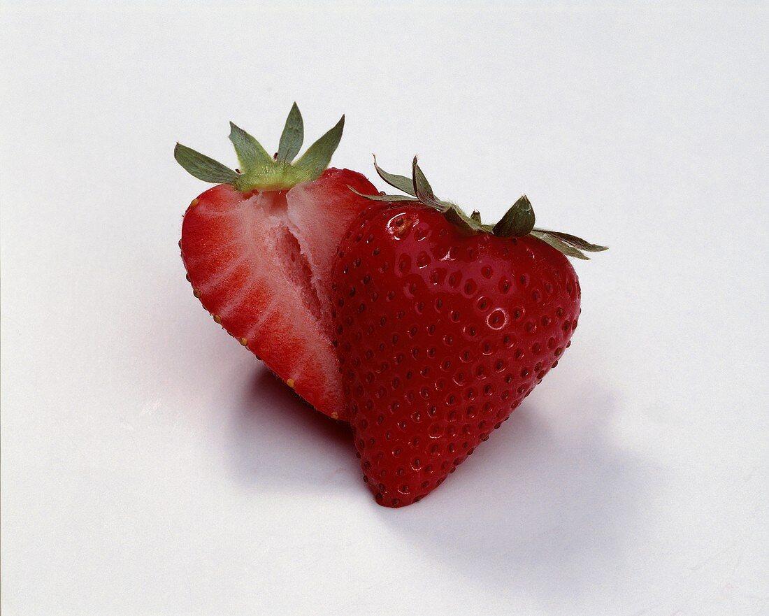 One Strawberry Sliced in Half