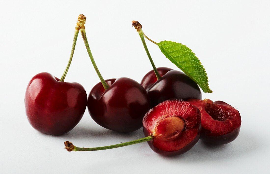 Morello cherries, whole and halved