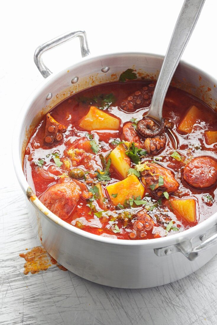 Octopus and chorizo stew