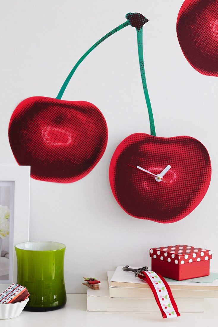 Cherry wall decal with clock mechanism