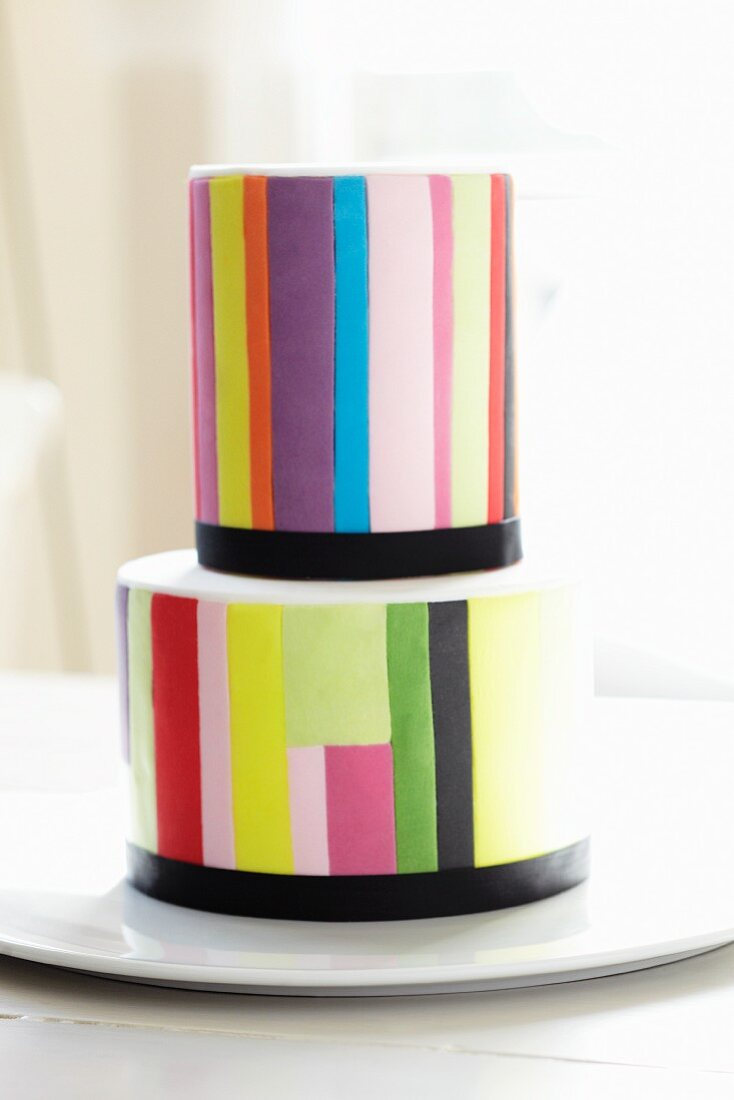 Two-tier chocolate & orange layer cake with vanilla buttercream icing