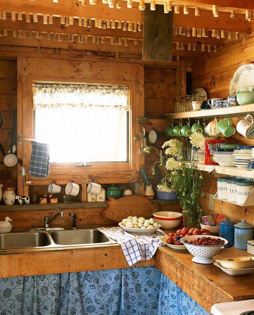 Wooden Country Kitchen with Eggs and Fruit