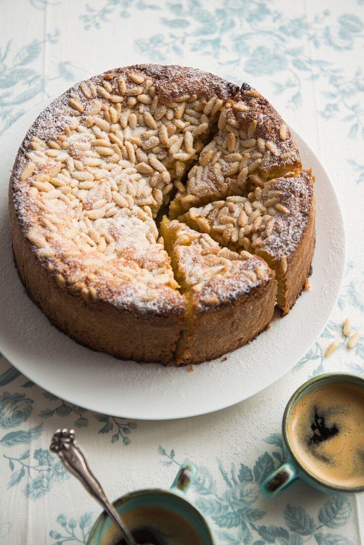 Paleo lemon cake with pine nuts