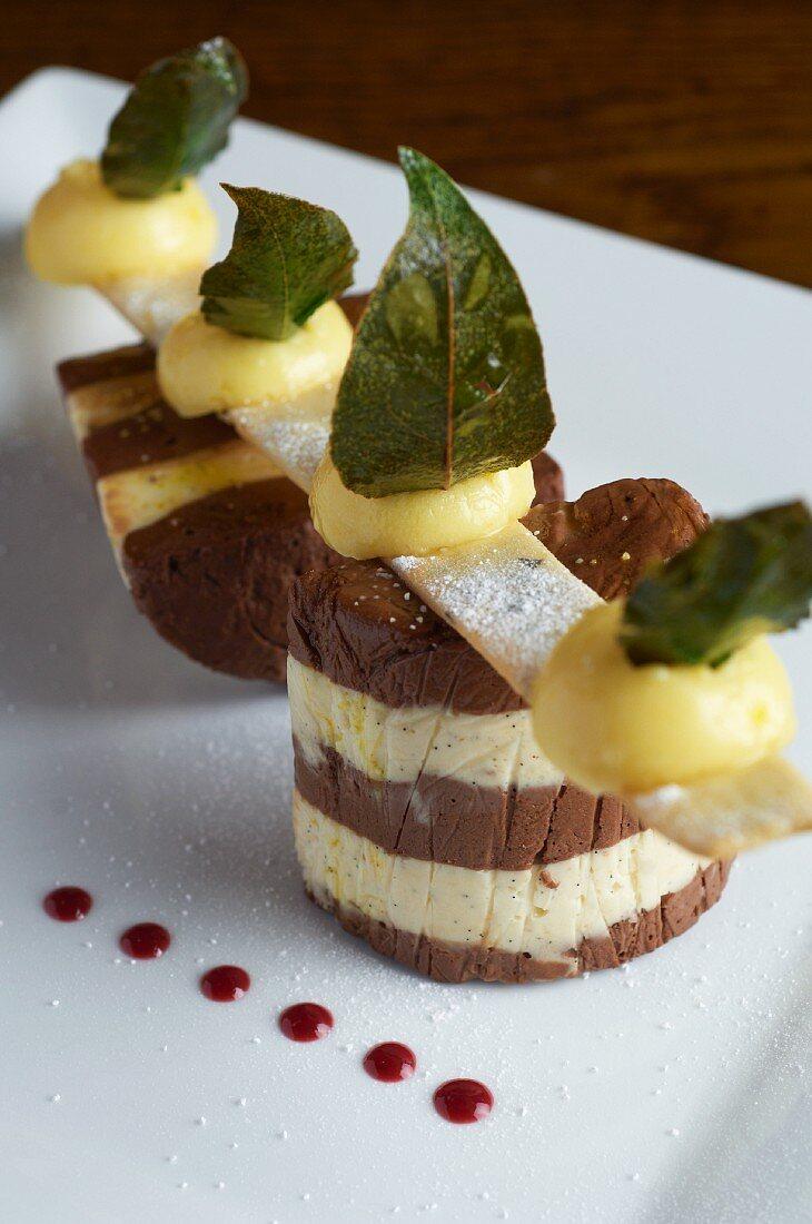 Chocolate tart shell filled with vanilla cream