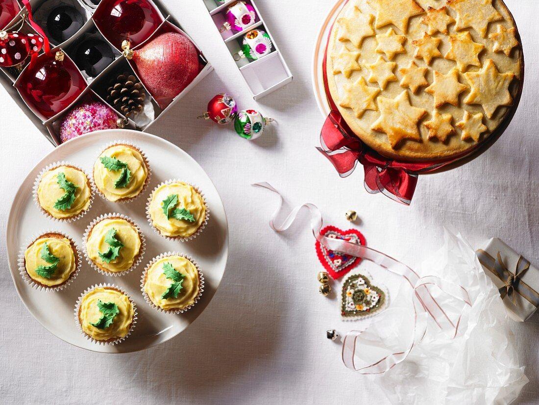 Christmas cake, cupcakes and Christmas tree decorations