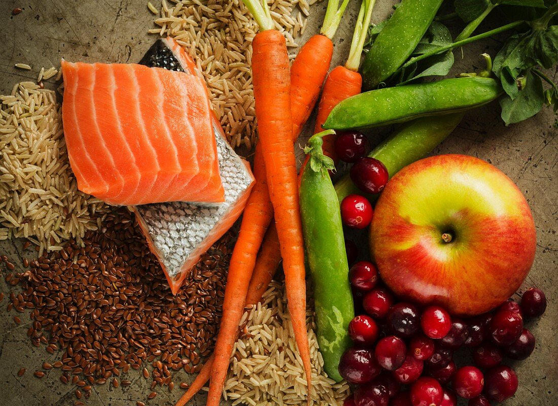 Assorted Ingredients; Salmon with Fruit, Vegetables and Grains