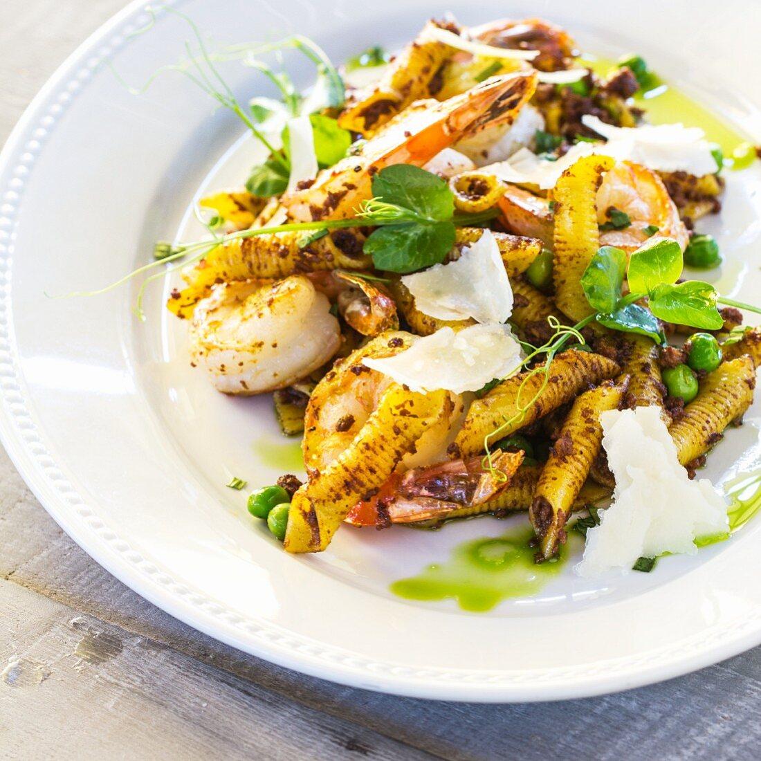 Garganelli pasta, beef chili and garlic shrimp