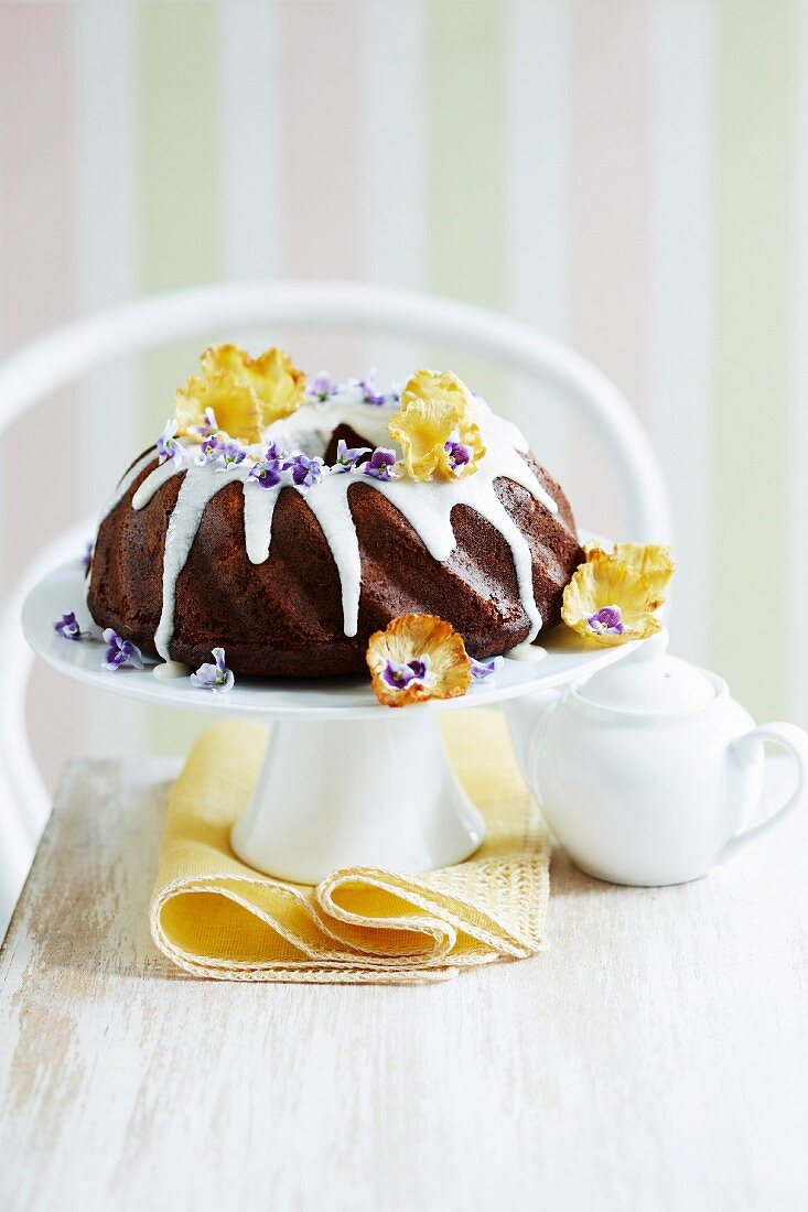 Pineapple and banana cake with flower decoration for Mother's Day