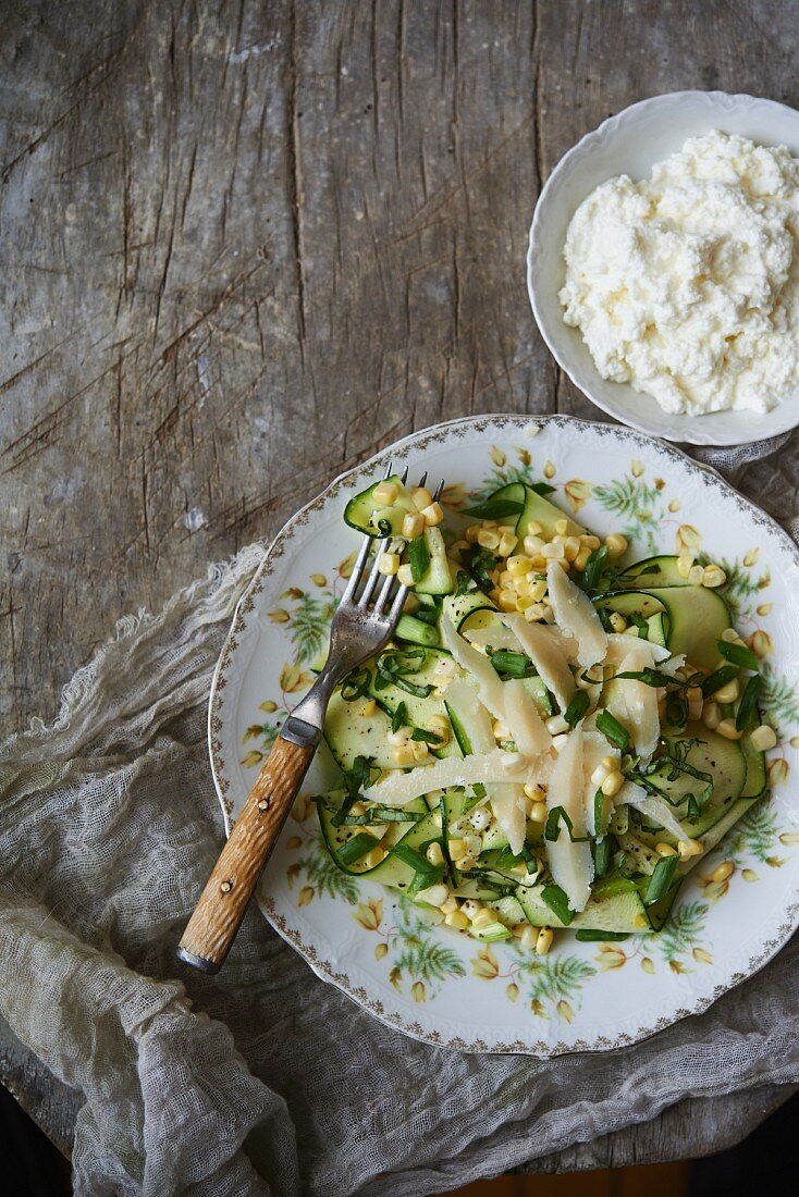 Shaved Zucchini Salad with Corn, Green Onion, Basil and Parmesan; A side of Ricotta Cheese