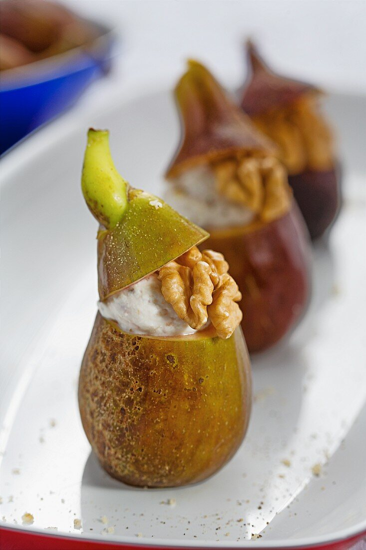 Figs filled with creamed cheese and walnuts