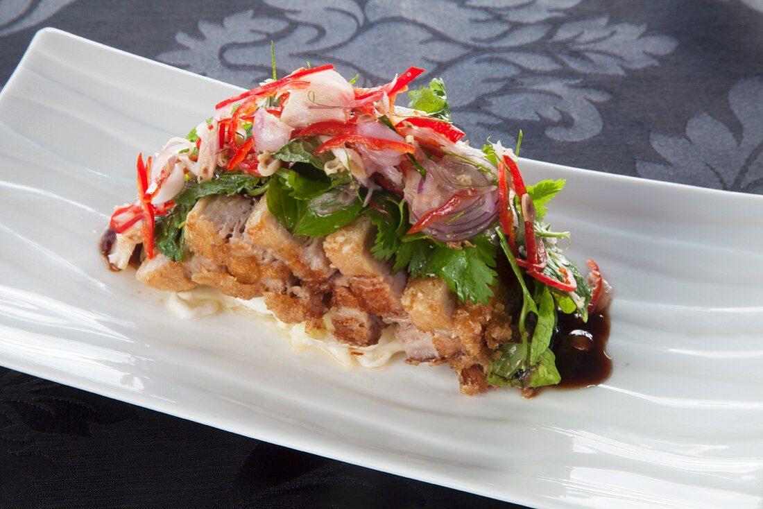 Sliced pork belly with Nam Jim (Thailand)