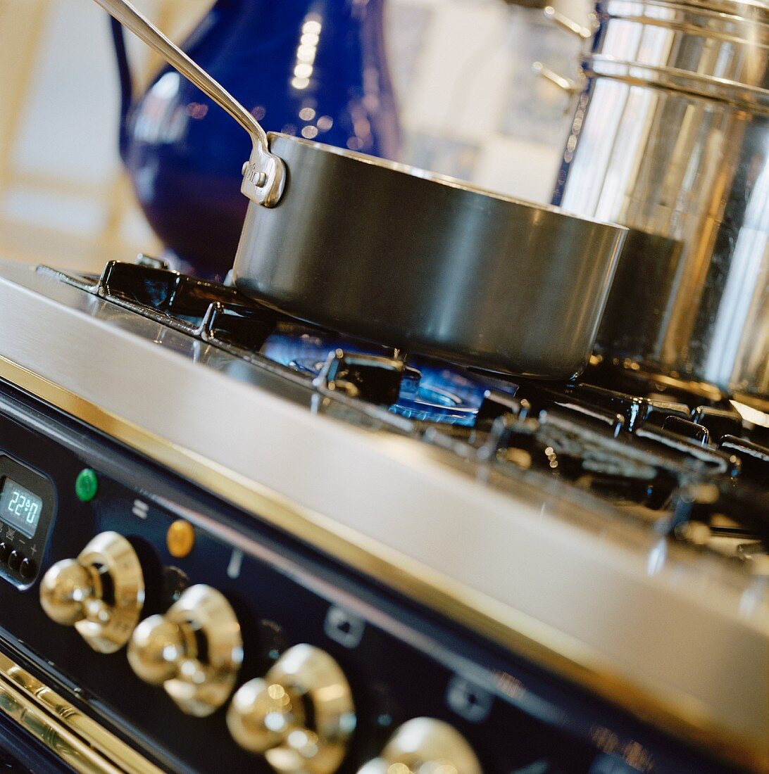 Saucepans on a stove, Sweden.