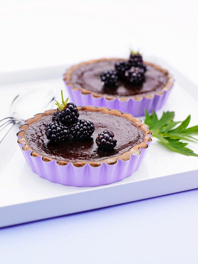 Chocolate pie and blackberry.