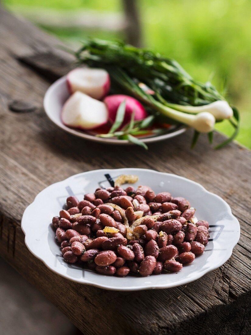 Geogian cuisine – lobio, red beans Georgian style.