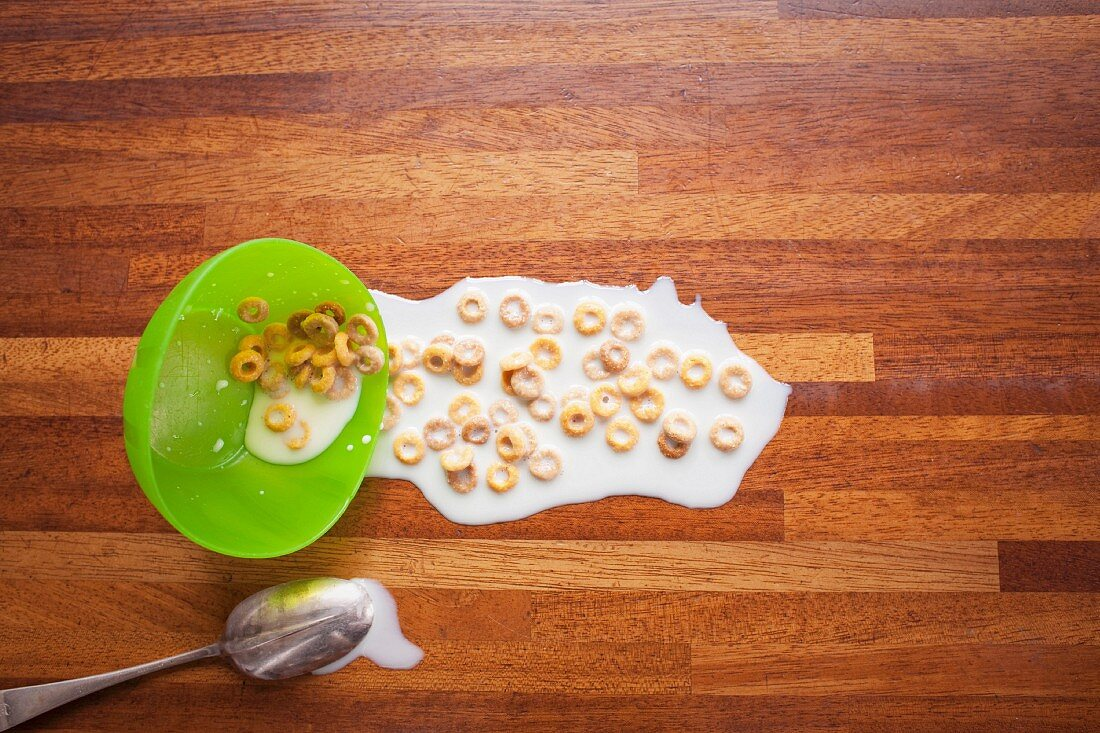 Bowl of cereal spilled on floor