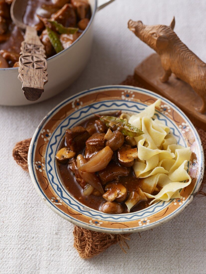 Wild boar goulash with ribbon pasta
