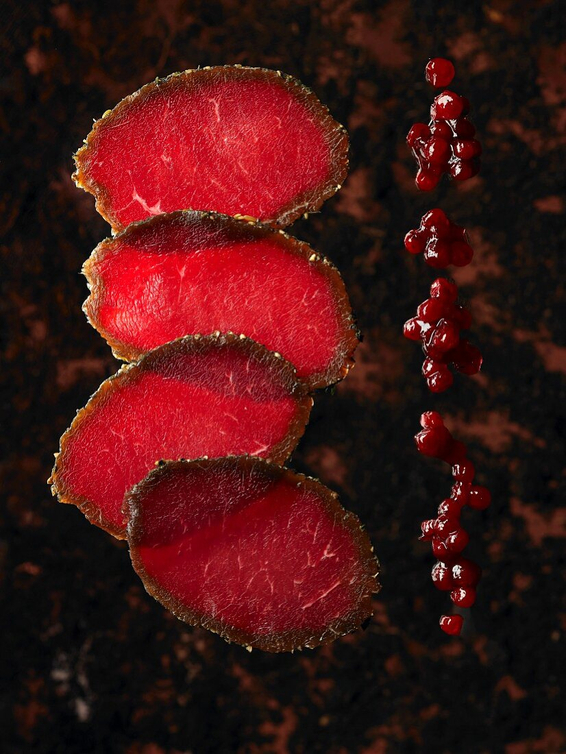 Cured saddle of elk with cranberries