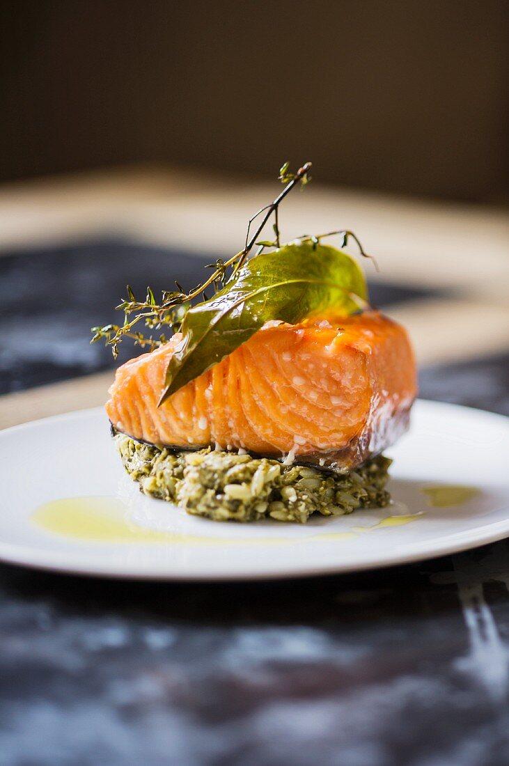 Salmon fillet on herb rice