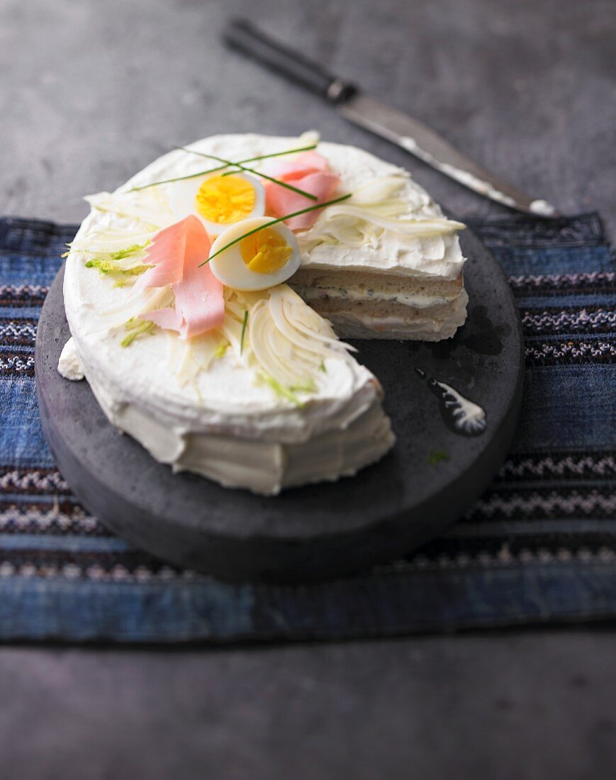 Swedish smörgåstårta (layer cake)