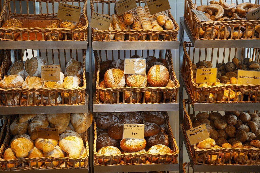 Baskets full of rolls in bakery