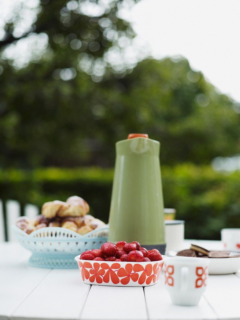 Food and drink prepared on outdoor table